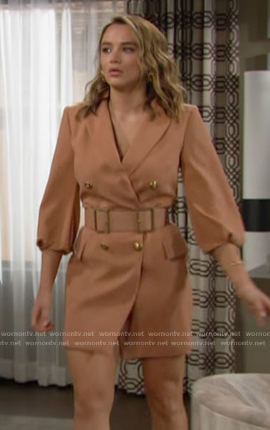 Summer's belted blazer dress on The Young and the Restless