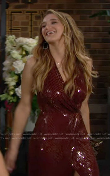 Summer's red engagement party dress on The Young and the Restless