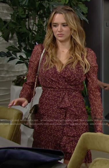 Summer's red floral long sleeve ruffled dress on The Young and the Restless