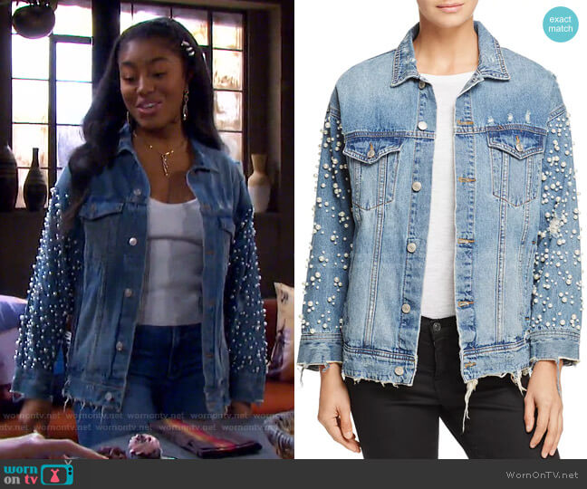 Embellished Denim Jacket by Sunset & Spring worn by Chanel Dupree (Precious Way) on Days of our Lives