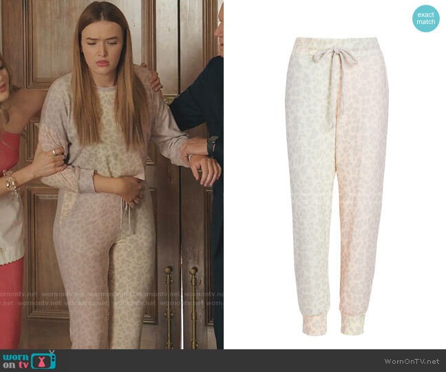 Leopard Jogger Pants by Sundry worn by Kirby Anders (Maddison Brown) on Dynasty
