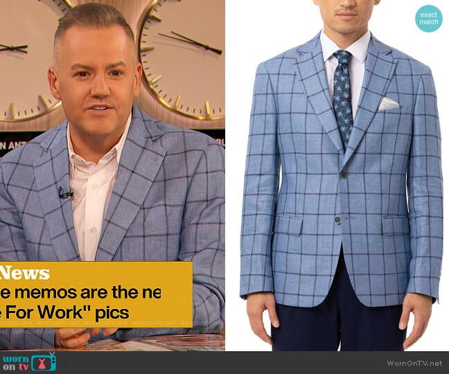 Slim-Fit Blue & Navy Windowpane Linen Sport Coat by Tallia worn by Drew Barrymore  on The Drew Barrymore Show