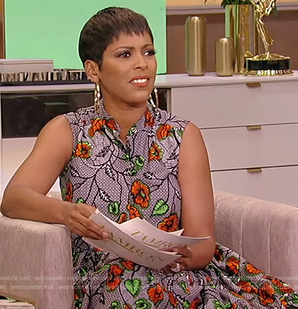 Tamron's gray floral print sleeveless dress on Tamron Hall Show
