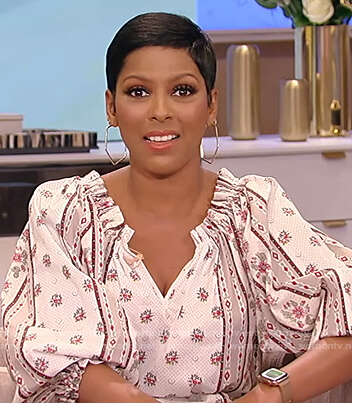 Tamron's white floral print midi dress on Tamron Hall Show