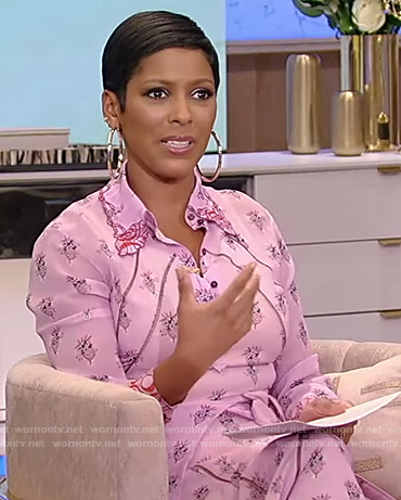 Tamron's pink floral tie waist dress on Tamron Hall Show