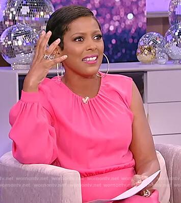 Tamron's pink one sleeve dress on Tamron Hall Show