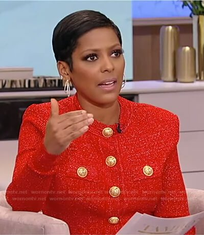 Tamron's red button embellished knit top and floral skirt on on Tamron Hall Show