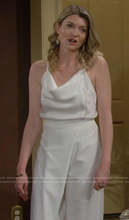 Tara's white cowl neck top and pants on The Young and the Restless