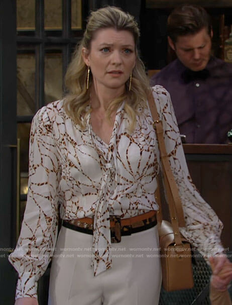 Tara's white printed tie neck blouse on The Young and the Restless