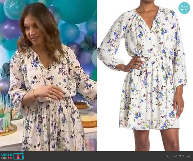 Floral Print Smocked Waist Mini Dress by Taylor worn by Ginger Zee  on Good Morning America
