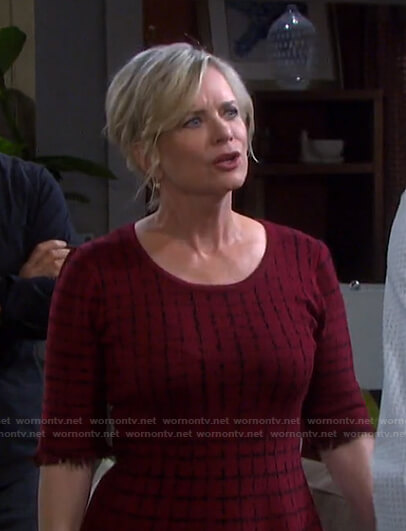 Kayla's red check frayed dress on Days of our Lives