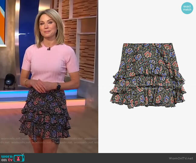 Jassiey mini skirt by Ted Baker worn by Amy Robach  on Good Morning America
