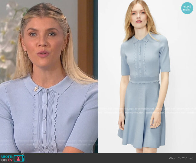 Scallop bodice knitted dress by Ted Baker worn by Amanda Kloots  on The Talk