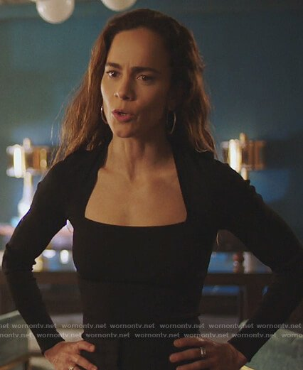 Teresa's black square neck top on Queen of the South
