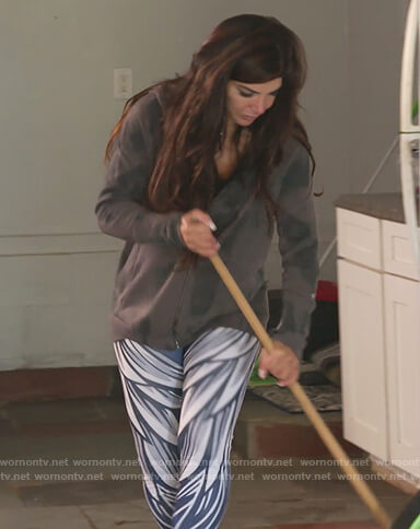 Teresa's blue wing print leggings on The Real Housewives of New Jersey