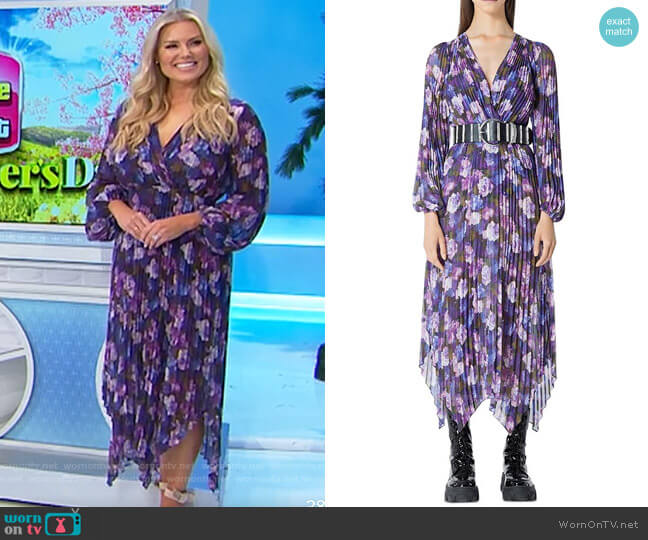The Kooples Floral Print Pleated Midi Dress worn by Rachel Reynolds  on The Price is Right