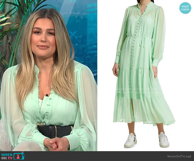 Long-Sleeve Semi-Sheer Tiered Maxi Dress by The Kooples worn by Carissa Loethen Culiner  on E! News