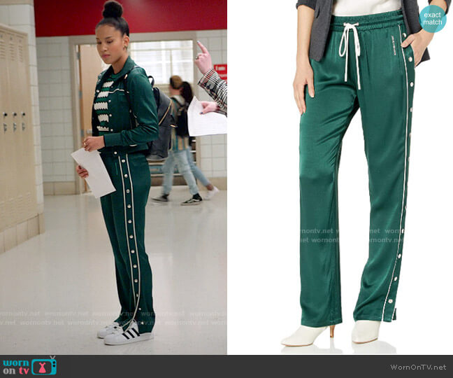 The Kooples Track Joggers with Snaps worn by Gina (Sofia Wylie) on High School Musical The Musical The Series