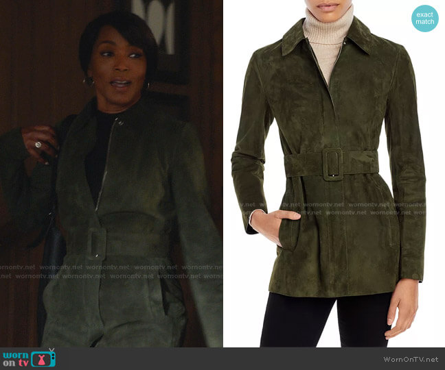 Belted Suede Utility Jacket by Theory worn by Athena Grant (Angela Bassett) on 9-1-1