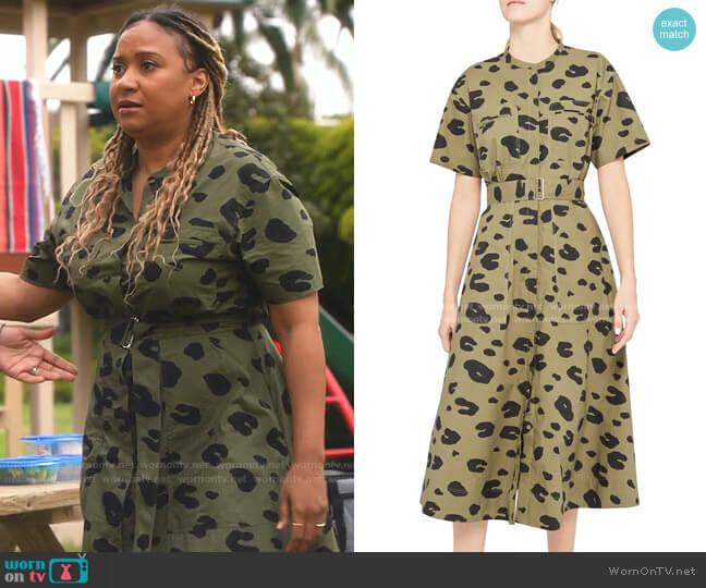 Leopard Utitlity Shirtdress by Theory worn by Tracie Thoms on 9-1-1
