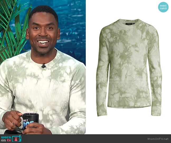 Masten Eco Brea Tie Dye Crewneck Sweater by Theory worn by Justin Sylvester  on E! News