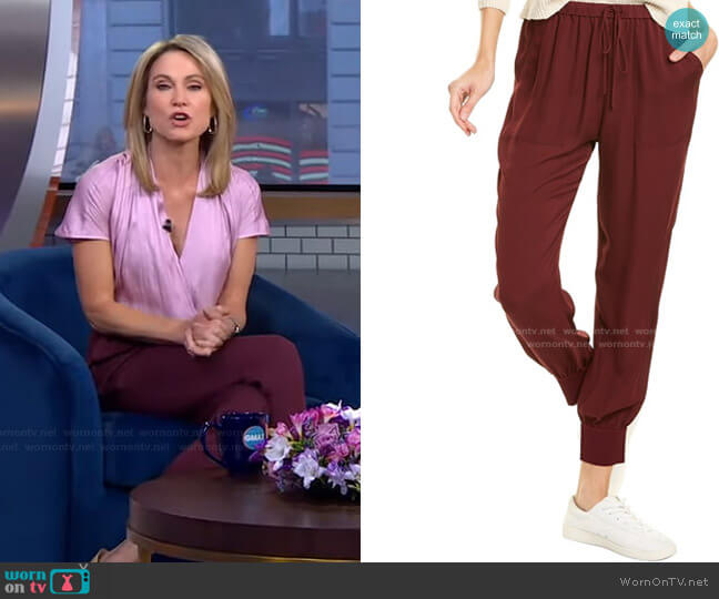 Rib Cuff Silk Jogger Pant by Theory worn by Amy Robach  on Good Morning America