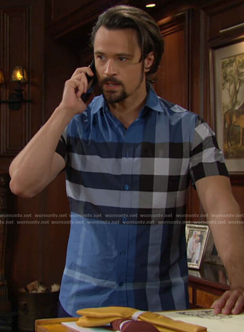 Thomas's blue checked shirt on The Bold and the Beautiful