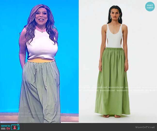 Italian Sporty Nylon Pull On Cocoon Skirt by Tibi worn by Wendy Williams  on The Wendy Williams Show