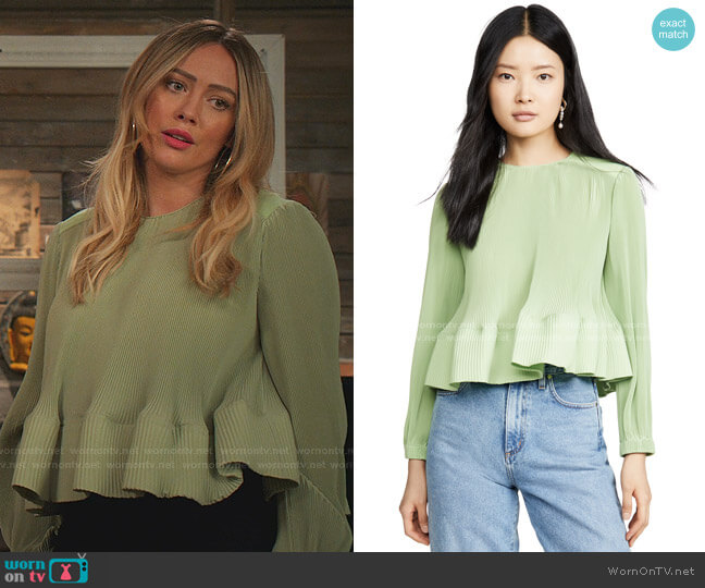 Yoke Pleated Top by Tibi worn by Kelsey Peters (Hilary Duff) on Younger