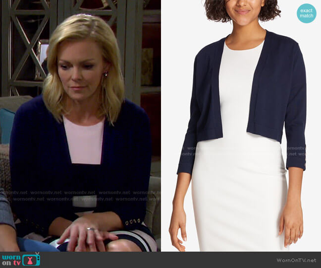 Button Sleeve Cardigan by Tommy Hilfiger worn by Belle Brady (Martha Madison) on Days of our Lives