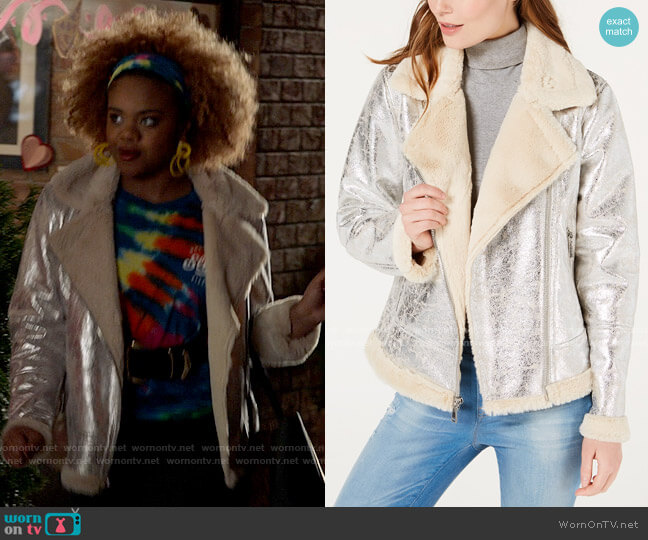 Tommy Hilfiger Faux-Shearling Moto Jacket worn by Kourtney (Dara Renee) on High School Musical The Musical The Series