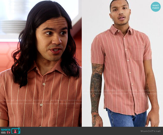 Topman Shirt in Red Stripe worn by Cisco Ramon (Carlos Valdes) on The Flash