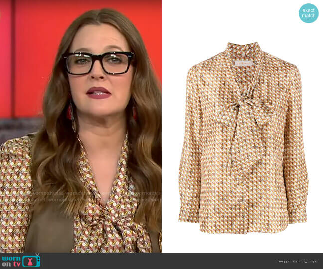 Tory Burch Geometric-print silk shirt worn by Drew Barrymore on CBS This Morning