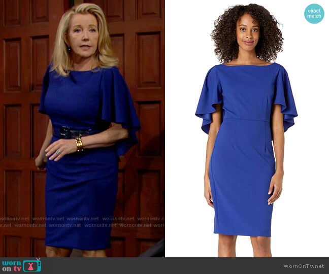 Trina Turk Cape Sleeve Dress worn by Nikki Reed Newman (Melody Thomas-Scott) on The Young & the Restless