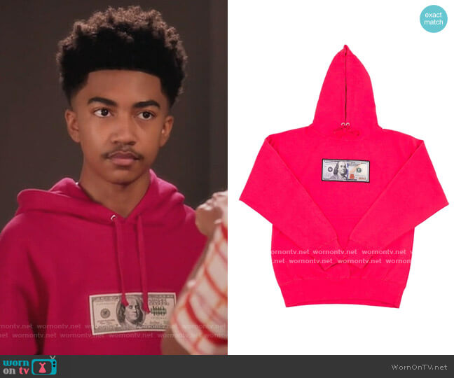 Blue Hundreds' Hoodie by Twenty1Rich worn by Jack Johnson (Miles Brown) on Blackish