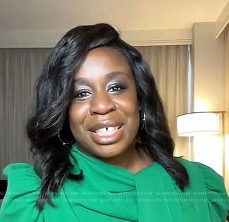 Uzo Aduba's green puff sleeve tie neck top on Live with Kelly and Ryan