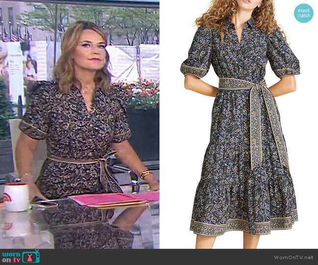 Eunice Printed Puff-Sleeve Midi Dress by Veronica Beard worn by Savannah Guthrie  on Today