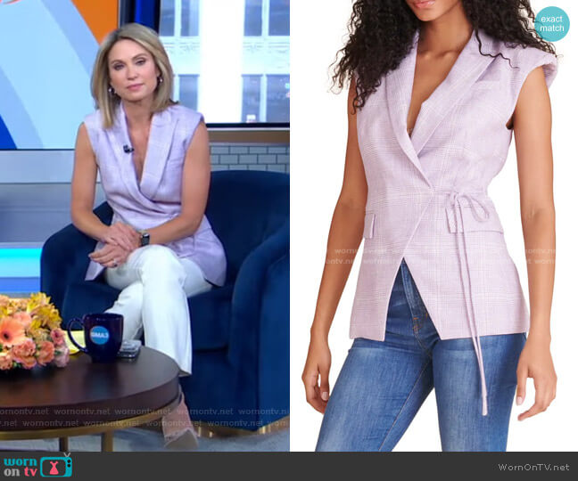 Geraldine Plaid Linen Vest by Veronica Beard worn by Amy Robach  on Good Morning America