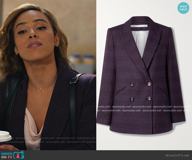 Oria Dickey checked woven blazer by Veronica Beard worn by Emily Lopez (Jessica Camacho) on All Rise