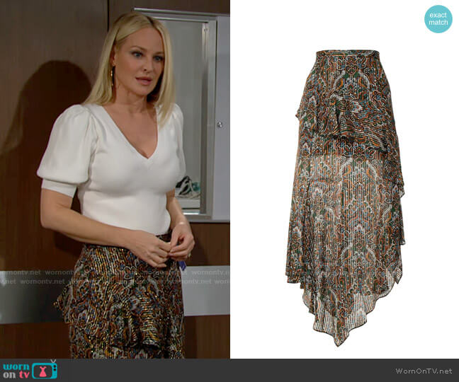 Veronica Beard Paisley Midi Skirt worn by Sharon Collins (Sharon Case) on The Young & the Restless