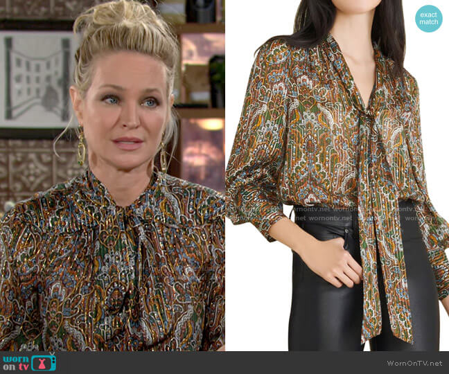 Veronica Beard Zaylee Blouse worn by Sharon Collins (Sharon Case) on The Young & the Restless