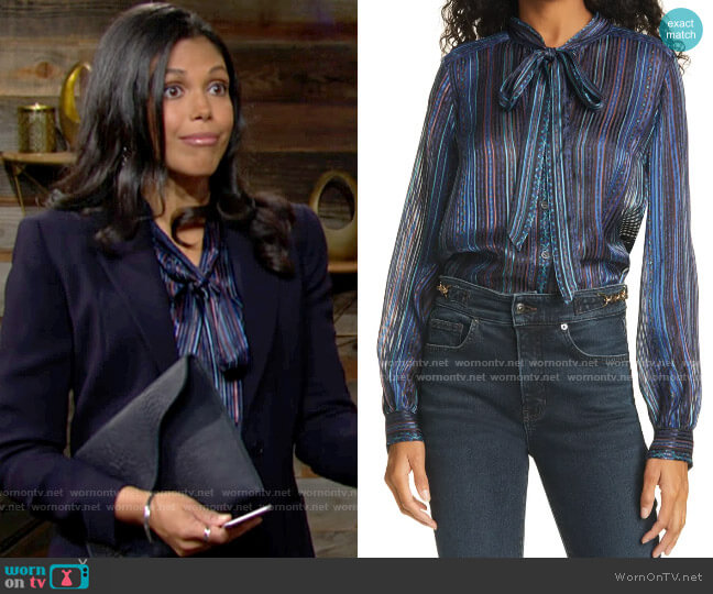 Veronica Beard Malaya Blouse worn by Amanda Sinclair (Karla Mosley) on The Young & the Restless
