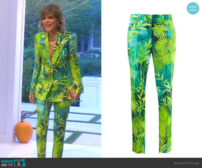 Palm-Print Slim Fit Trousers by Versace worn by Lisa Rinna  on The Real Housewives of Beverly Hills