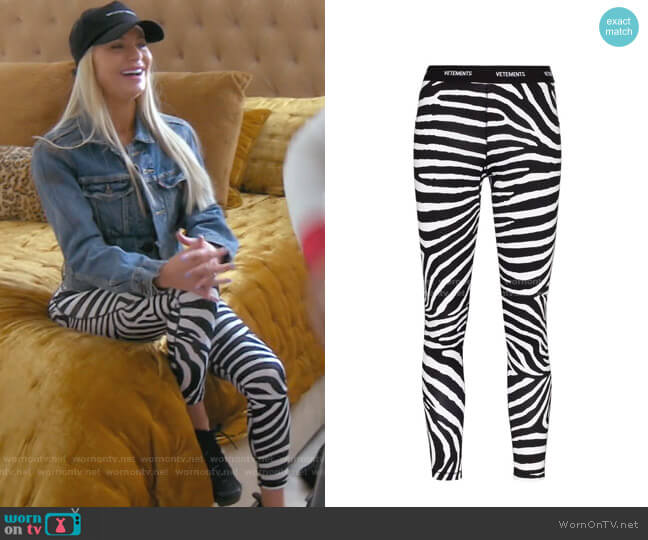 Logo Zebra-Print Leggings by Vetements worn by Dorit Kemsley  on The Real Housewives of Beverly Hills