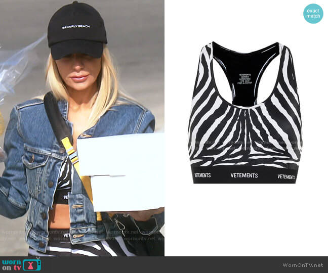 Logo Zebra-Print Sports Bra by Vetements worn by Dorit Kemsley  on The Real Housewives of Beverly Hills