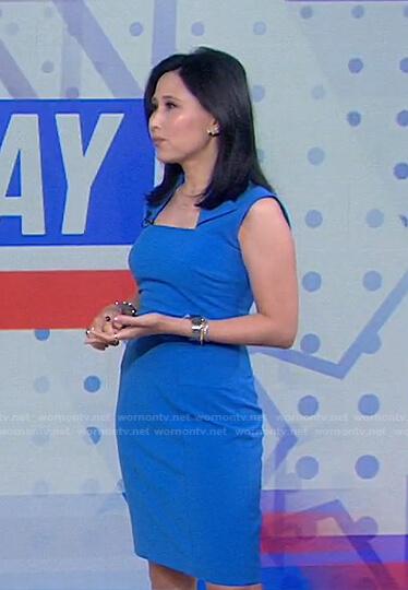 Vicky's blue folded neck dress on Today