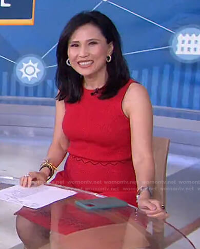 Vicky's red scalloped ribbed dress on Today