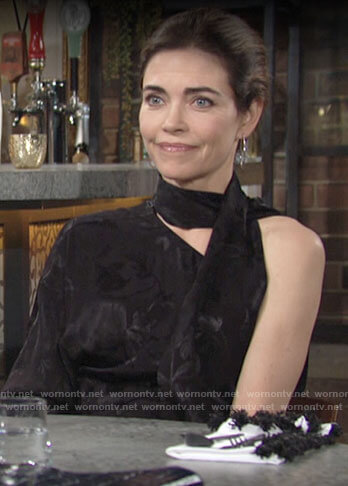 Victoria's black one-shoulder scarf neck blouse on The Young and the Restless