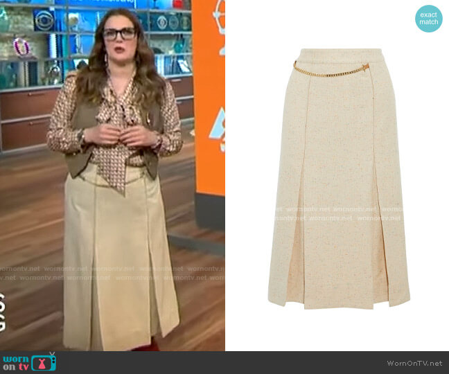 Victoria Beckham Chain-detailed pleated donegal silk-blend tweed wrap skirt worn by Drew Barrymore on CBS This Morning