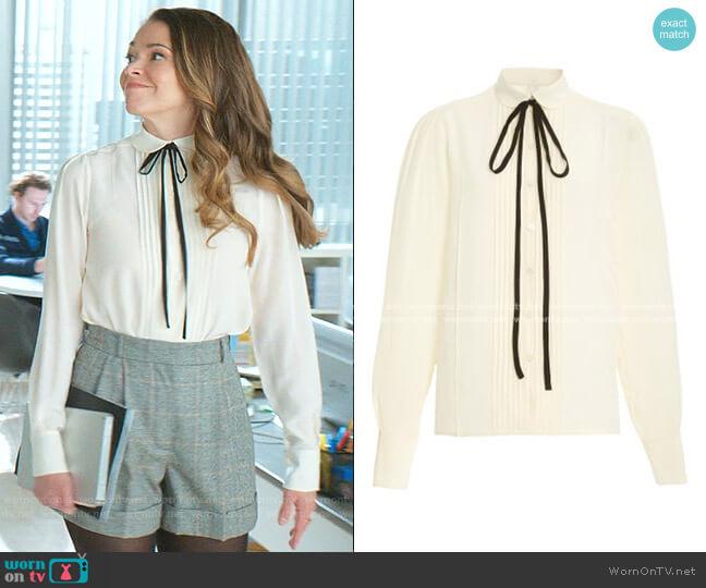 Tie-Neck Pleated Silk Top by Victoria Beckham worn by Liza Miller (Sutton Foster) on Younger